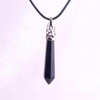 Galaxy pierre bleu ponte de sable pierre cosmique noire cristal guérison reiki chakra pendentif gemme avec collier de chaîne en cuir véritable 18 '' pouces
