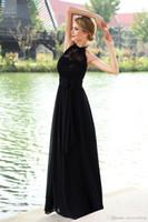 Exquisite schwarze 2019 Prom Kleider Lace Top Chiffon Rock mit Schleife Sash Halter lange formale Abendgesellschaft Gown Noche