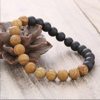 European women and men' s 8MM wood texture beaded bracel...