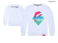2018 nouvelle arrivée rose dauphin spécial hip hop hommes et femmes à manches longues t-shirt livraison gratuite ainsi que la taille xxl o-cou 100% coton de qualité supérieure