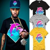 Neue beiläufige Mann-Art- und Weisekleidungs-Rosa-Delphin-T-Shirts für Mann-Hip-Hop-T-Shirts Wholesale freies Verschiffen S-3XL