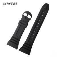 JAWODER Watchband 28mm Siyah Silikon Kauçuk Watch Band Kayışı Pin Toka Elektronik Casio W-96h Spor İzle Sapanlar için Değiştirin