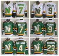 Hommes 4 Craig Hartsburg Jersey Stars de Dallas 9 Mike Modano 7 Neal Broten 23 Chandails de hockey sur glace Brian Bellows Vintage CCM Vert Blanc