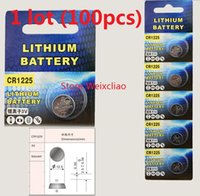 100pcs 1 lot CR1225 3V lithium li ion button cell battery CR 1225 3 Volt li-ion coin batteries Free Shipping