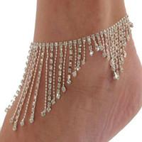 Nueva joyería nupcial del tobillo del pie de la playa de la boda Rhinestones cristalinos blancos de la mariposa Tobilleras para las mujeres Accesorios de la joyería descalza de la manera