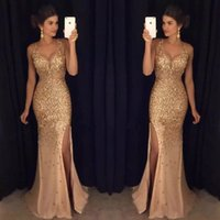 Luxury Gold Crystals Mermaid Prom Dresses Sheer Deep V- Neck ...