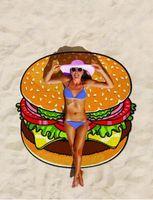 Serviette de plage ronde Pizza Hamburger Imprimé 150cm Grande Baignoire Serviette de bain Mandala Tapisserie indienne Plage Jeter Serviettes Couverture de pique-nique en plein air