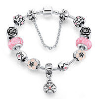 4 färger Europa glaspärlor armband DIY handgjorda charm kedja armband 925 sterling silver strängs armband smycken