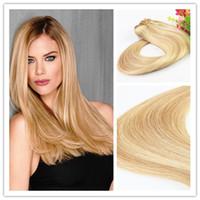 Clip brasiliana dei capelli 8A dei capelli umani di Ombre Remy del doppio di tiraggio all'ingrosso di prezzi nell'estensione dei capelli con colore P14 / 613 del piano