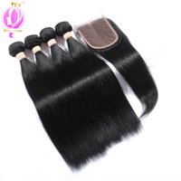 Top quality Brazilian Straight Hair With Lace Closure 4 Bund...
