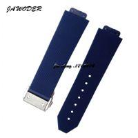 JAWODER Bracelet de montre 23mm / 26mm Hommes / femmes Fermoir de déploiement en acier inoxydable Bracelet de plongée en caoutchouc de silicone bleu pour HUB Big Bang