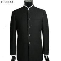 Großhandelsmänner-Klage stellt chinesische Tunika-Anzüge Stehkragen-klassische Klage-Blazer-Markendesign-Geschäfts-formale männliche Baumwollklage-Sätze Y0470 ein
