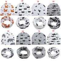 autunno della molla bambini coreani cappelli 100% berretti ragazzi del cotone ragazze del fumetto con 2pcs sciarpa di corrispondenza set piccolo copricapo bambino tenere in caldo