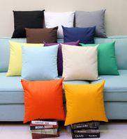 18x18 inç düz boyalı 8 oz pamuk tuval atmak yastık kılıfı boş ev dekor yastık örtüsü