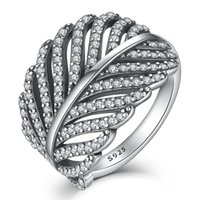 BELAWANG 925 Sterling Silver Feather Ring Engagement Leaf Ri...