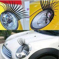 Black 3D Automotive Headlash Pestañas Eye Eye Lashes Auto Pestaña Logo de Automóvil 3D Pegatina pegatinas de pestañas para coches 200pairs = 400pcs