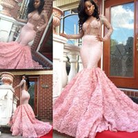 2017 Luxo Sexy Africano Mermaid Prom Dresses See-through Beading Long Sleeves Open Back Vestidos de celebridades formais com trem floral