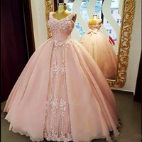Soft Pink Ball Gown Prom Dresses 2018 Lace Appliques Corset ...