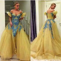 Yellow Off Shoulder Prom Dresses With Blue Beaded Appliques ...