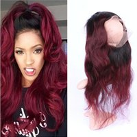 360 Full Lace Closure 8A Brazilian Human Virgin Hair Body Wave Ombre 1b 99j 360 Full Lace closure with baby hair Burgundy Color