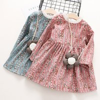 Everweekend Girls Floral Birds Autumn Winter Dress with Cros...