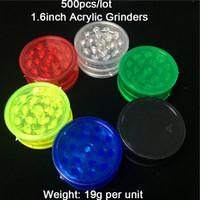 Großhandel 500 Teile / los Billig 1,7 Zoll Sechs Farbe Acryl Herb Grinders 3-teile Kunststoff Herb Grinders Rauch Herb Grinders