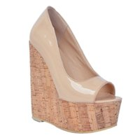 Zandina Whole Sale Womens Fashion Handmade 15cm Peep-toe Wadge Heel Partito Prom Sandali Beige XD033