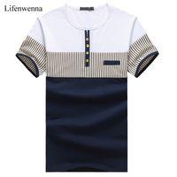 All'ingrosso-New Fashion T shirt da uomo Estate O-Collo manica corta T-shirt da uomo Abbigliamento da uomo Trend Casual Slim Fit bottoni Top Tees 5XL
