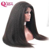Kinky Straight Wig Glueless Lace Frente Perucas de Cabelo Humano para Mulheres Negras Com Cabelo Bebê Virgem Humano Cabelo Italiano Yaki Peruca