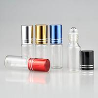 Beş Renk Cap ile Uçucu Yağlar İçin 5ml Sıcak Satış Cam Silindir Şişe Şişe Doldurulabilir Kozmetik Konteynerleri 100pcs Rulo-on