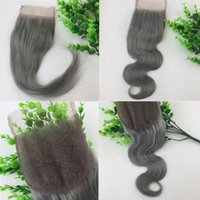 4x4 кружева закрытие серый человеческих волос бразильский девственные волосы прямая объемная волна отбеленные узлы бесплатная часть швейцарский кружева