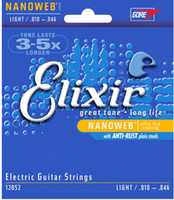 الجملة 5 مجموعات Elixir 12052 Nanoweb الترا رقيقة طلاء سلاسل الغيتار الكهربائي سوبر ضوء .010 - 046 الآلات الموسيقية