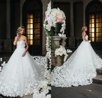 로맨틱 스페 란자 쿠튀르 웨딩 드레스 2020의 연인 전체 Appliqued 꽃 꽃 성당 기차 웨딩 드레스 맞춤 제작 신부 드레스