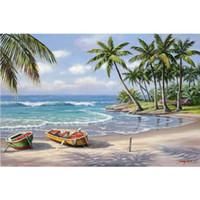 Handmade Sung Kim pinturas Tropical Bay arte moderna seascapes óleo sobre tela para sala de estar decoração