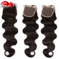 Hannah Product Body Wave 4x4 Cierre de seda en la base Extensiones de cabello humano peruano 130% Density Bouncy Wave closure with Baby Hair