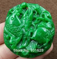 Hermoso Natural Verde Jade Colgante Jade Tallado Chino Amuleto Pescado Afortunado Colgante + Collar de Cuerda Joyería de Moda de Jade