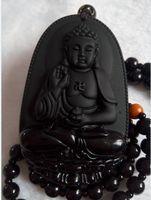 Buda colgante de obsidiana natural collar vintage negro cabeza de Buda colgante para mujeres Jade joyería envío gratis A781