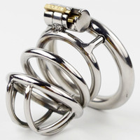New Lock Stainless Steel Male Chastity Dispositivo de pica gaiola Penis virgindade bloquear Cock Ring Sex Toy Jogo Adulto Cinto de castidade CPA231-2