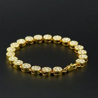 Unisex Hip Hop Bling Jewlery 24K placcato oro reale MIAMI CUBAN LINK Catena Brillante Crystal Strass Bracciali Hip Hop Bling Bangle