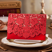 50pcs New Arrival Horizontal Laser Cut Wedding Invitation wi...