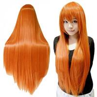 Freies Verschiffen Cosplay Frauen Orange Lange Haare Mit Pony Perücke Cosplay Gerade Peruca Perücken