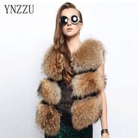 Faux Fur Coat 2017 donne inverno caldo moda donna importazione cappotto gilet di pelliccia di alta qualità pelliccia di volpe maglia lunga YO086