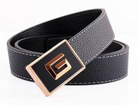 Men' s and women' s smooth buckle leather belt belt ...