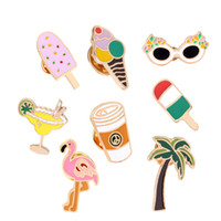 Coconut Tree Flamingo Ice- cream Metal Brooches Gold Plated B...