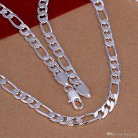 Unisex Fashion 6mm largo piatta piatta collegamento a catena di collegamento collane uomini donne argento placcato collana collana choker corpo semplice gioielli generosi 20 pollici