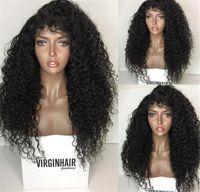 150% Densité Kinky Curly Full Dentelle Perruques de cheveux humains Brésilien Perruques de dentelle pleine dentelle bouclée Perruque avant pour femmes noires avec des cheveux de bébé