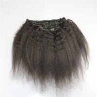 Klip In Saç Uzantıları 16 - Uzantıları İnsan Saç Uzatma Kinky ise 22 inç Doğal Renk # 1b İnsan Saç Klip Düz