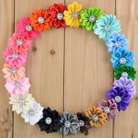 Mini satynowa wstążka tkanina kwiat dla opasek na głowę DIY poliester Kwiaty Rhinestone Pearl w centrum Dziewczynka Akcesoria do włosów 110 sztuk / partia