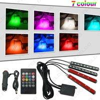 도매 자동차 인테리어 RGB LED 스트립 빛 음성 컨트롤러 분위기 램프 발 장식 조명 24 키 원격 컨트롤러 # 4563