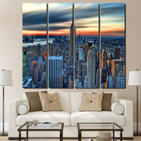 4 piece canvas New York modern city posters and prints wall ...